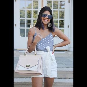 Kate Spade Pink/White Leather Satchel